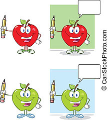 Happy Apples Holding Up A Pencil