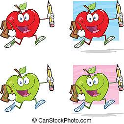 Happy Apples With School Bag