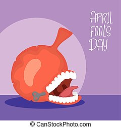 happy april fools day card with airbag and crazy mouth ...