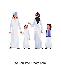 Arab family in traditional clothing vector illustration of