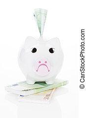 happy., argent, faire, argent., triste, porcin, pas, vous, banque