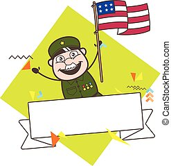 Happy Army Man with US Flag Vector Illustration