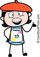 Happy Artist Cartoon Illustration