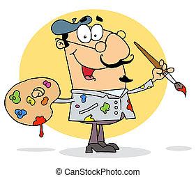 Happy Artist Painter - Sloppy Caucasian Cartoon Artist ...