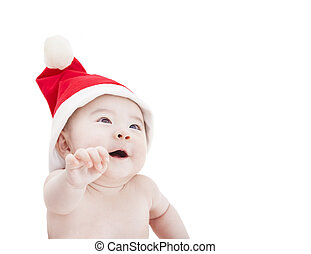 happy asian baby with christmas hat