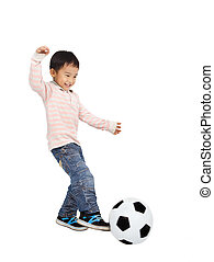 happy asian boy playing soccer isolated on white background