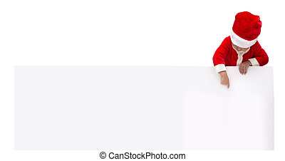 Happy Asian boy Santa Claus pointing on blank white advertisement banner background with copy space