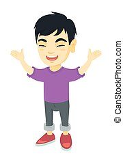 Happy asian boy standing with raised hands.
