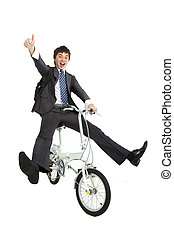 Happy asian businessman on a bicycle isolated on white background