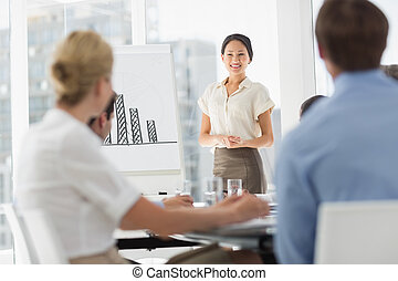 Happy Asian businesswoman presenting bar chart to colleagues