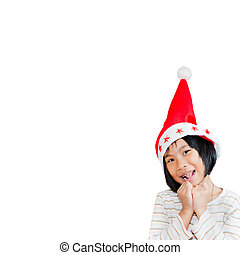 Happy Asian child wearing santa hat with white background