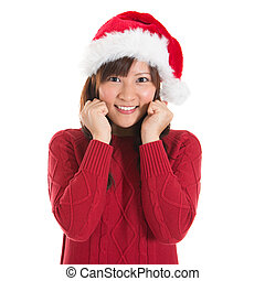 Happy Asian Christmas woman