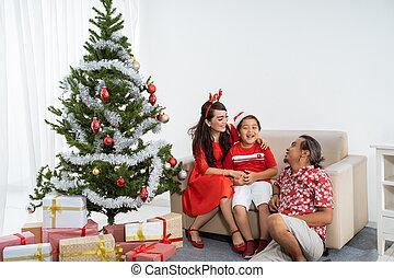 asian family having fun at home on christmas