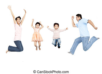 happy asian family jumping together
