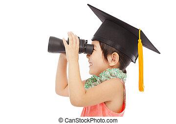 happy asian Little girl looking through binoculars