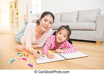 girl painting drawing with her mother