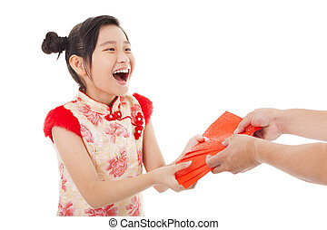 happy asian little girl received red envelope for  chinese new