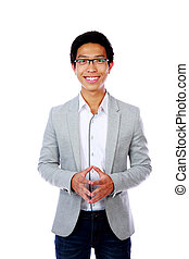 Happy asian man standing over white background
