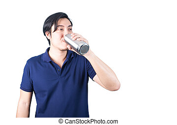 Happy Asian man with bottle of water isolated on the white background