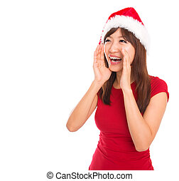 Asian Santa woman shouting - Happy Asian Santa woman...