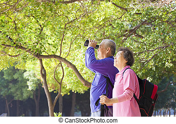 Happy asian senior Couple On Vacation