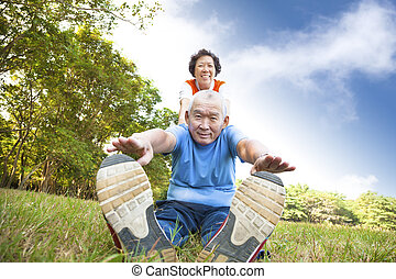happy asian Senior couple