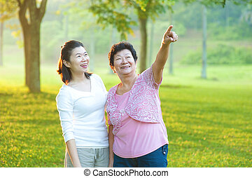 Asian senior mother with her daughter