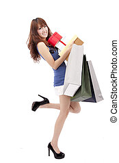 happy asian shopping girl with a lot of gift box and shopping bag