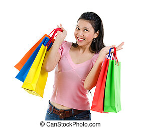 Happy Asian shopping woman