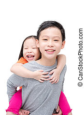 sibling isolated over white background