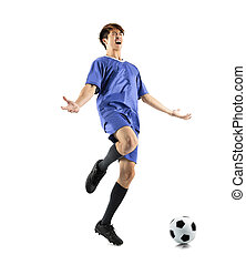 happy asian soccer player celebrating isolated on white