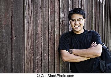 Happy asian student