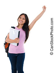 Happy Asian teen college student arm up standing on white