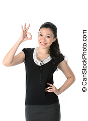 Asian woman doing OK symbol with her hand.