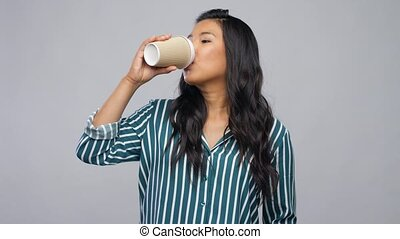 happy asian woman drinking coffee - people and drinks ...