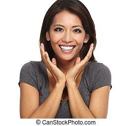 Happy asian woman.