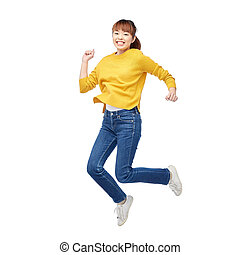 happy asian woman jumping over white