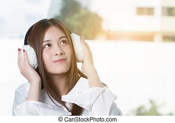 Happy Asian woman