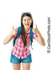 Happy asian woman tourist with show thumb up
