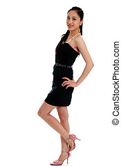 Happy asian woman with black dress