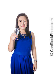 Happy Asian woman with glass of water isolated on the white background