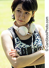 Happy asian woman with headphone, portrait photography
