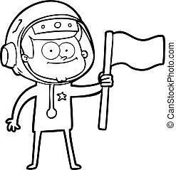 happy astronaut cartoon