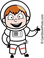 Happy Astronaut Cartoon Illustration