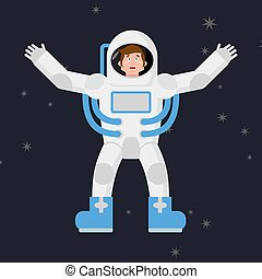 Happy astronaut in outer space. Good cheerful spaceman. Space suit