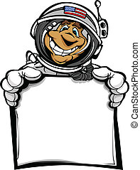 Happy Astronaut Spaceman with Sign Cartoon Vector Illustration