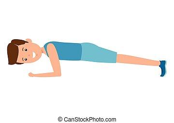 happy athletic boy doing push ups