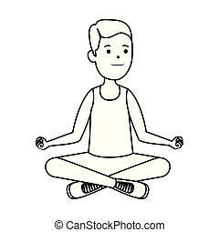 happy athletic boy practicing yoga