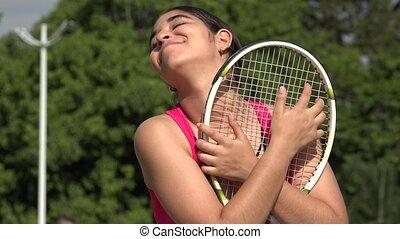Happy Athletic Female Teenage Tennis Player