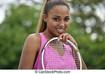 Happy Athletic Female Tennis Player